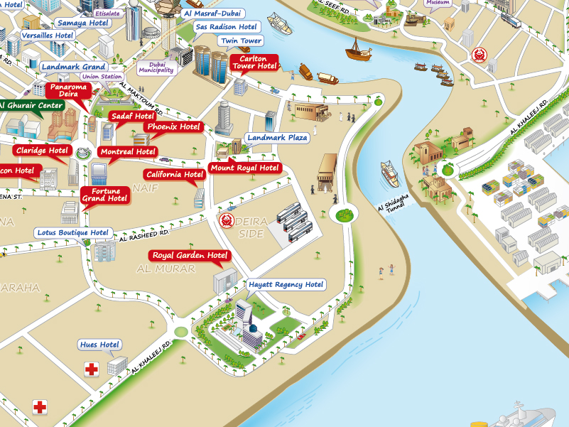 an informative and easy to use 3d map of dubai with your